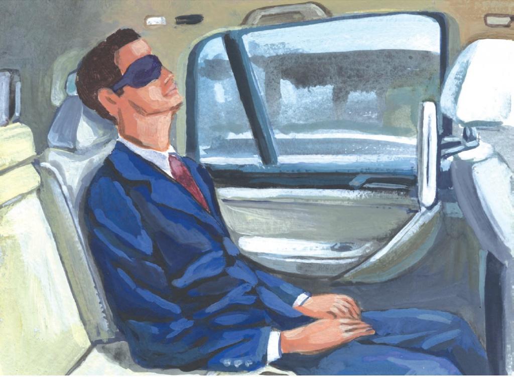 Homem dormindo no volante do carro